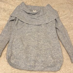 Thyme Cowl Neck Blue Maternity Sweater Size Large
